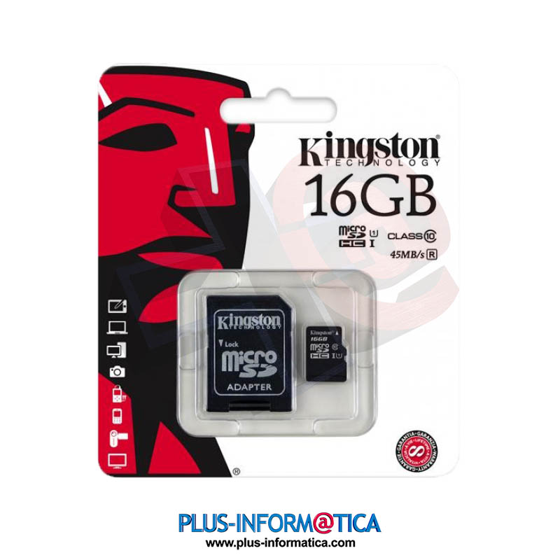 Tarjeta microSD Kingston 16GB (Class10) 45MB/s