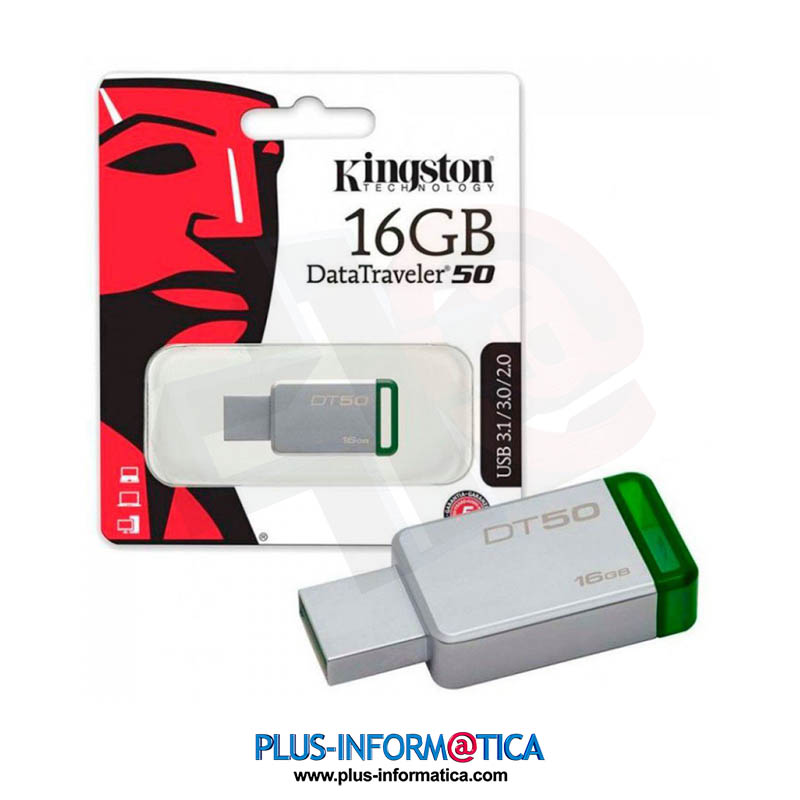 Pendrive Kingston 16GB USB 3.1 DT50 Verde