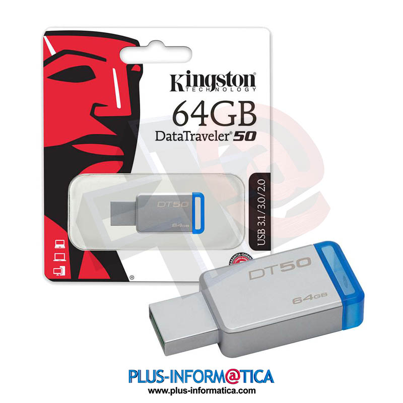 Pendrive Kingston 64GB USB 3.1 DT50 azul
