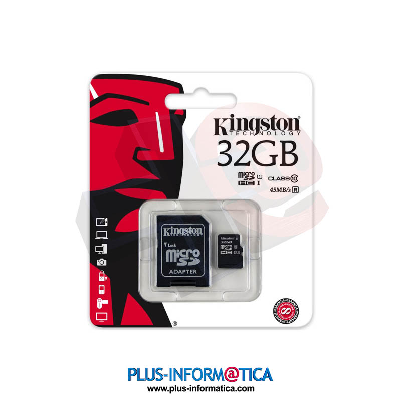 Tarjeta microSD Kingston 32GB (Class10) 45MB/s