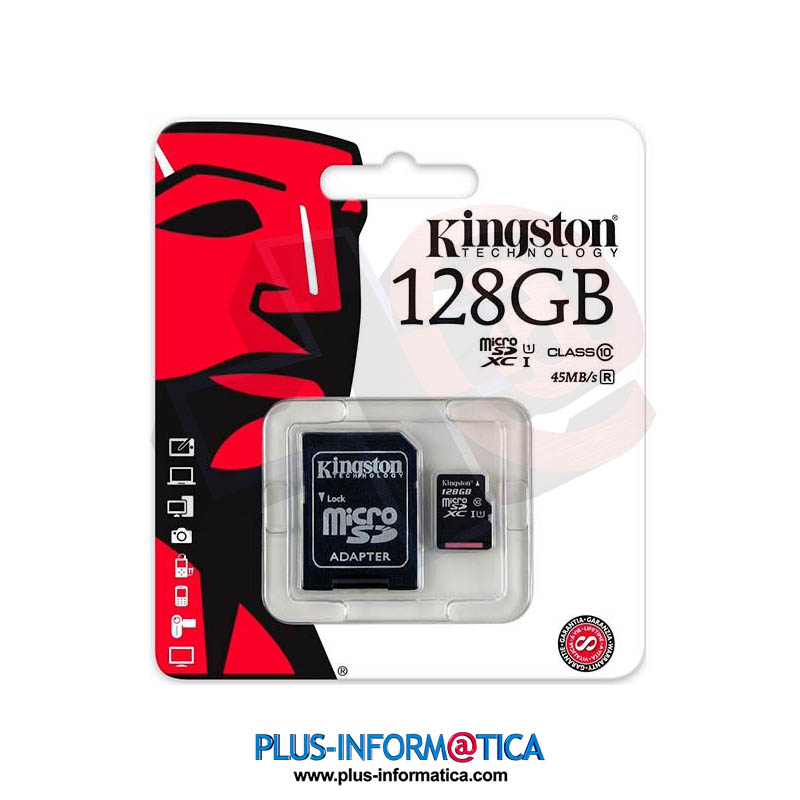 Tarjeta micro SD Kingston Canvas 128GB 80 MB/s clase 10