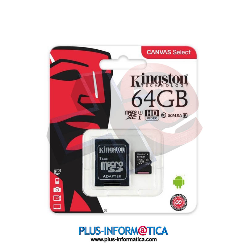 Tarjeta micro SD Kingston Canvas 64GB 80 MB/s clase 10