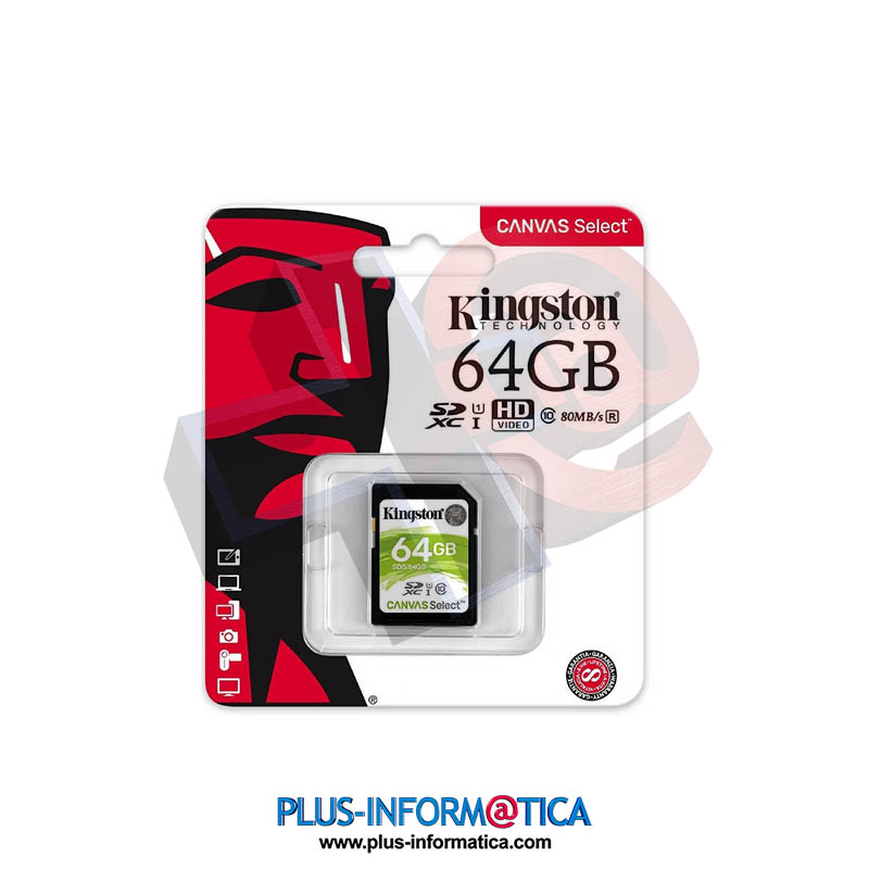 Tarjeta SD Kingston 64GB 80 MB/s clase 10