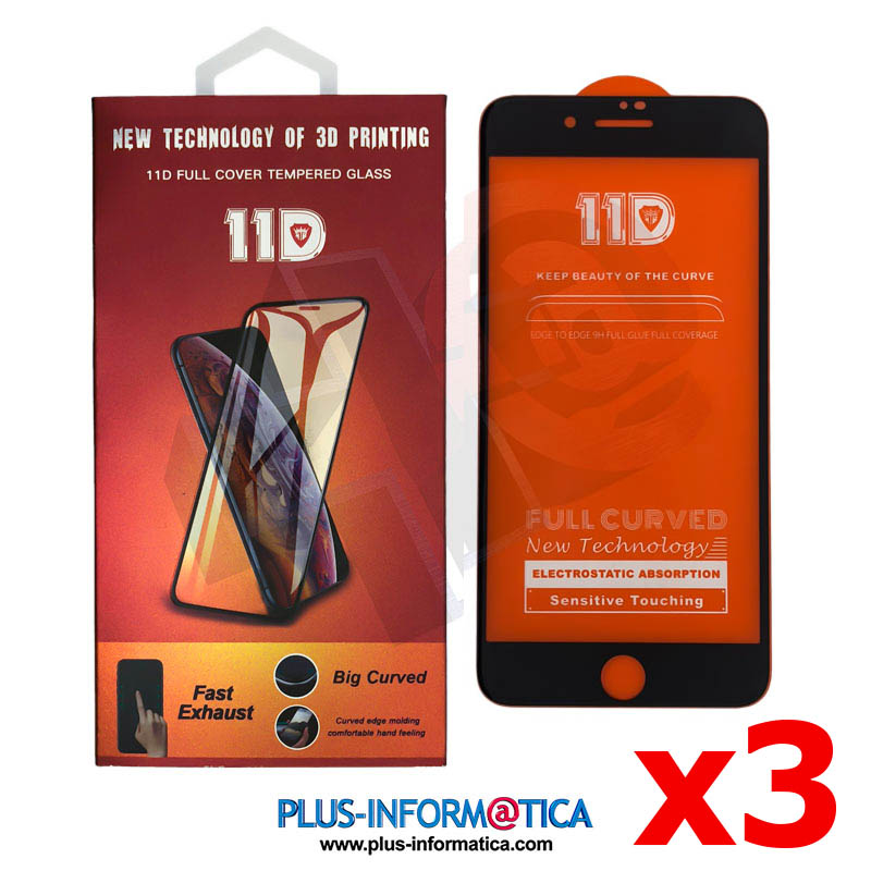Cristal templado 11D para iPhone 6/6s negro blister - PACK 3 UNIDADES
