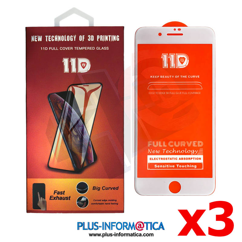 Cristal templado 11D para iPhone 7/8 blanco blister - PACK 3 UNIDADES