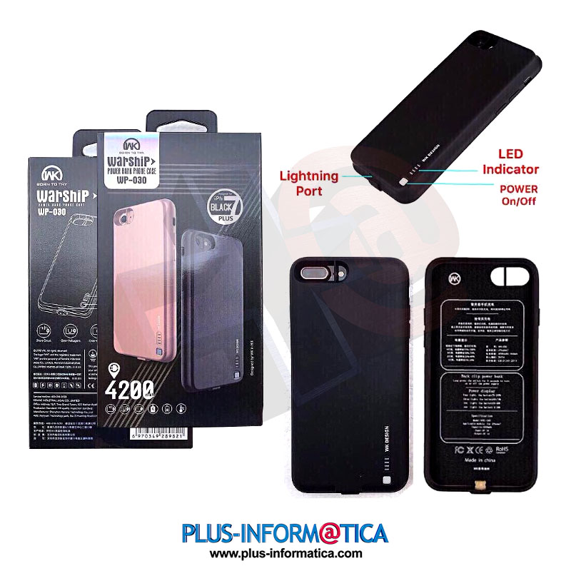Funda Batería externa WP-030 4200mAh Remax para iPhone 7 Plus negro